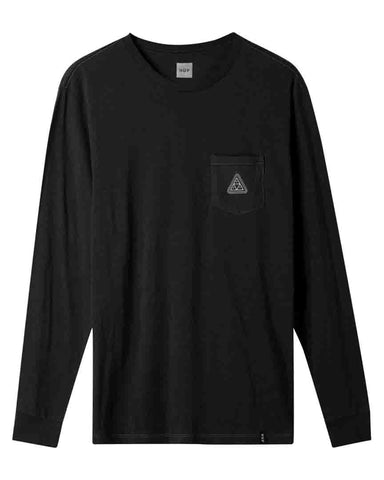 PEAK PATCH LONG SLEEVE POCKET T-SHIRT BLACK