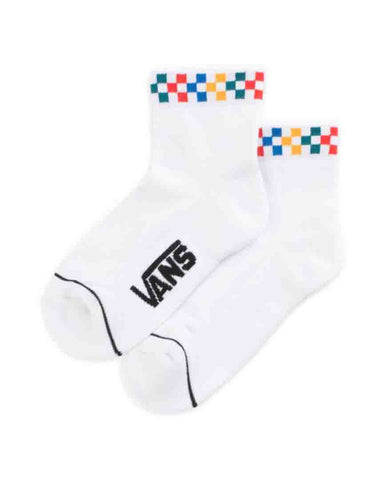 PEEK-A-CHECK CREW SOCK WHITE