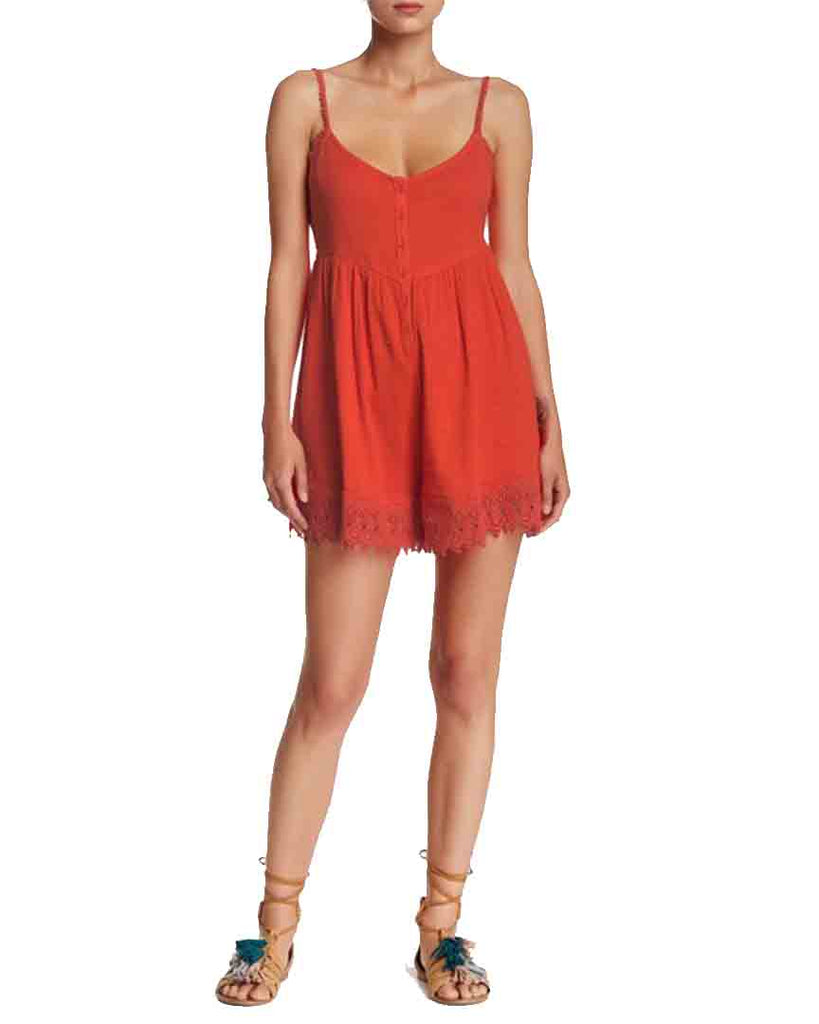 Short VOLCOM PINNED ROMPER - FIRE RED