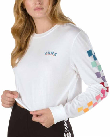 RAIN CHECKS LONG SLEEVE CROP TEE WHITE