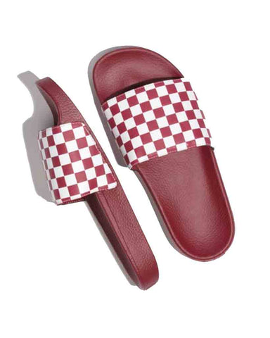 VANS SLIDE-ON CHECK RAMBA RED-WHITE SANDALS