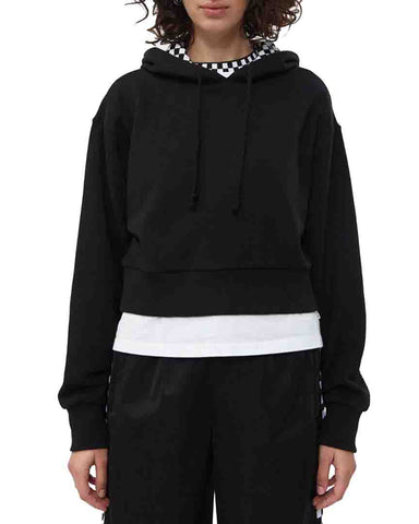 STRAIGHTENED OUT CROP HOODIE BLACK
