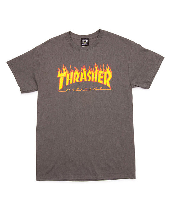 THRASHER FLAME LOGO CHARCOAL T-shirt