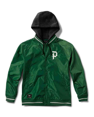 TWO FER VARSITY JACKET FOREST GREEN