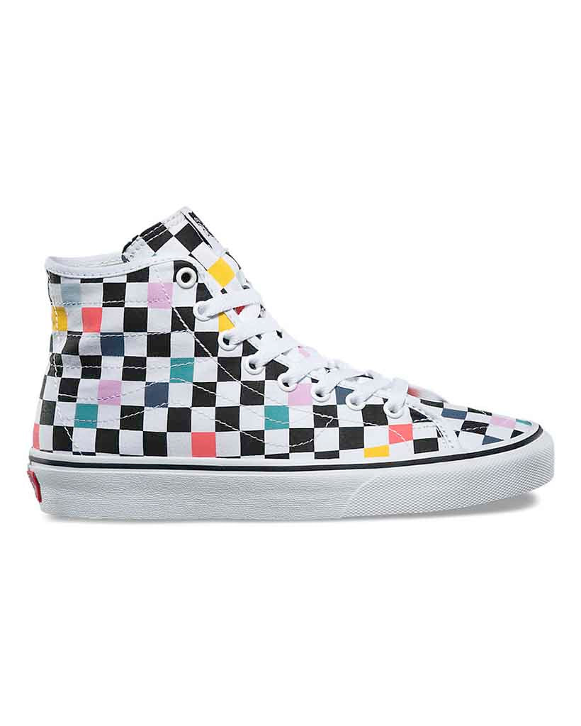 8c43b6b6937f VANS SK8-HI DECON PARTY CHECKER MULTI COLOR WHITE – Boutique Adrenaline