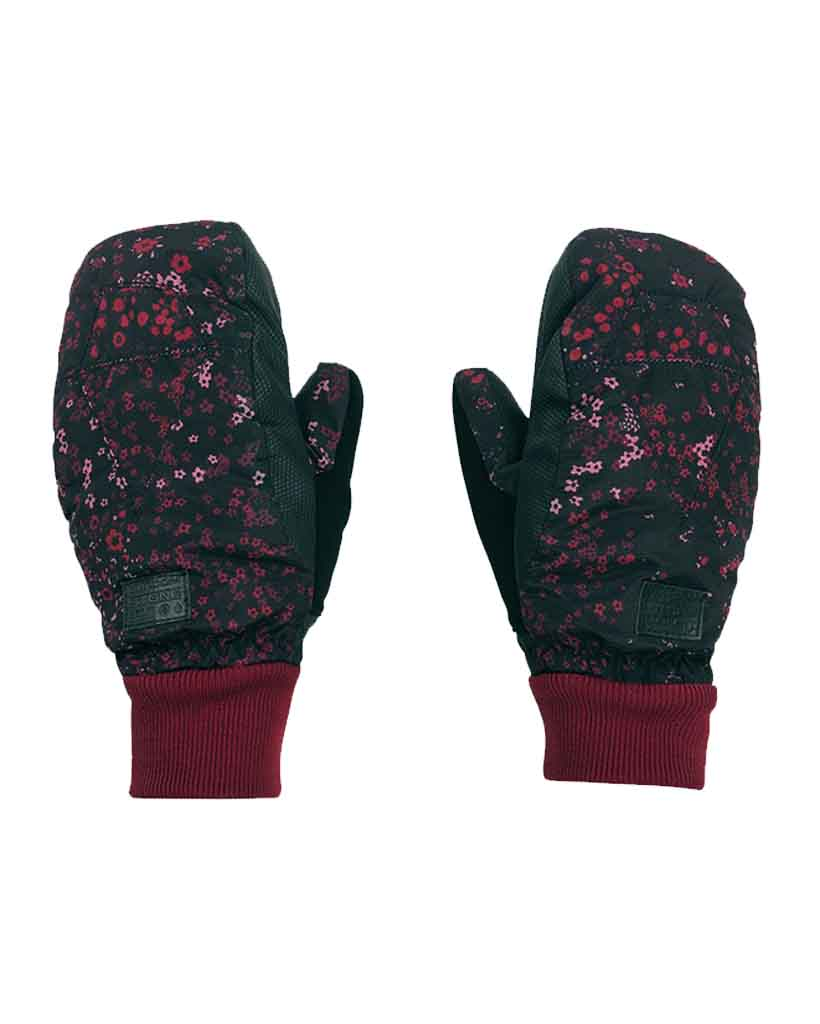 Gloves and mitts VOLCOM WOMENS BISTRO MITT BLACK FLORAL PRINT