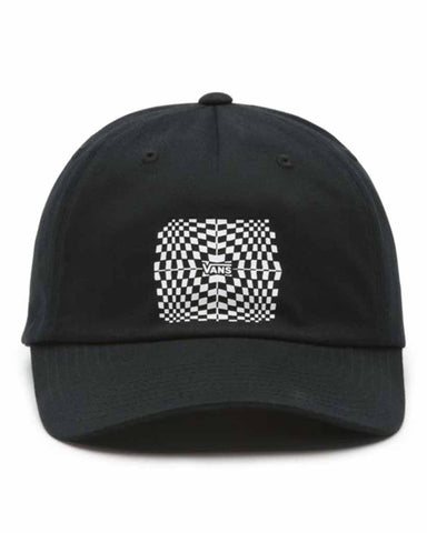WARPED CHECK 5-PANEL CURVED BILL HAT BLACK
