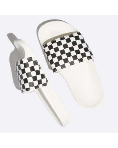 WOMENS SLIDE-ON CHECKERBOARD WHITE-BLACK