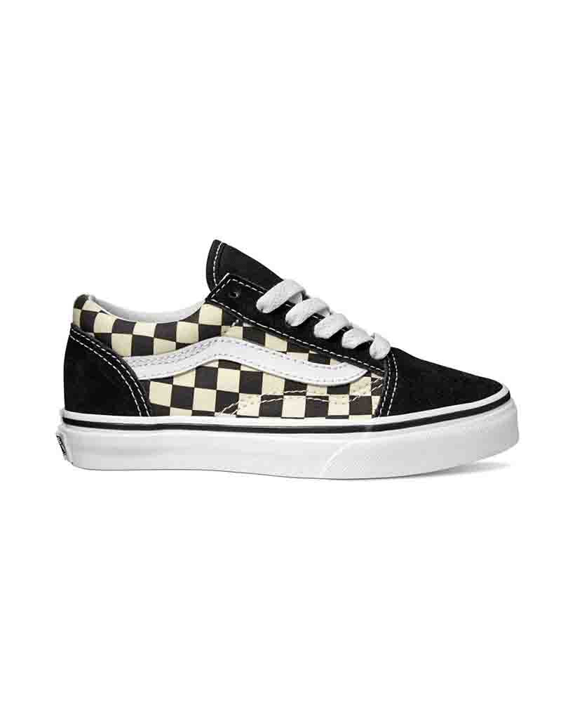 Souliers VANS Y OLD SKOOL PRIMARY CHECK BLACK TRUE WHITE