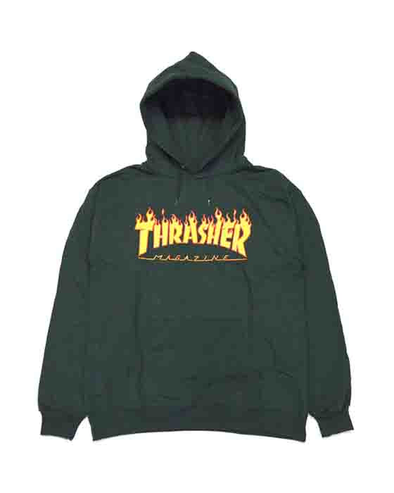 Hoodie THRASHER FLAME LOGO FOREST GREEN