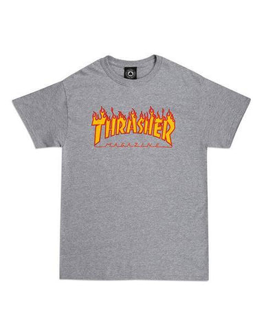 FLAME LOGO TEE HEATHER GREY
