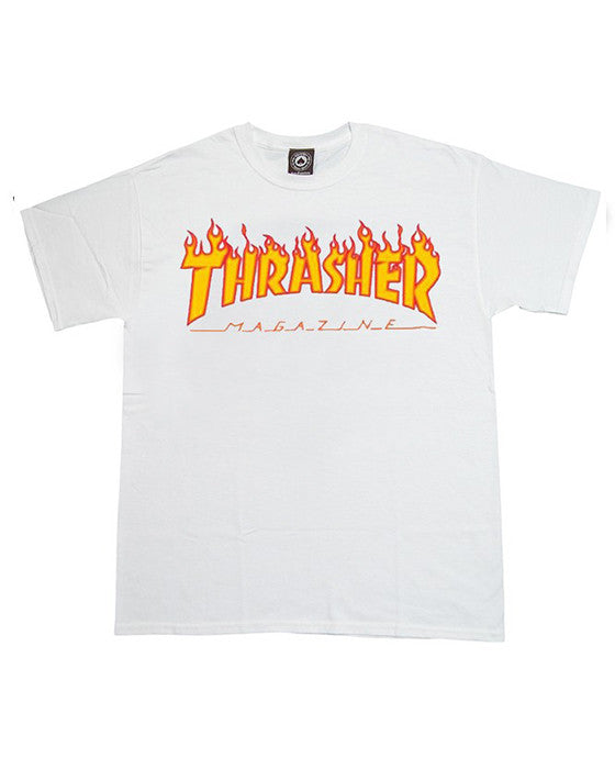 THRASHER FLAME LOGO WHITE T-shirt