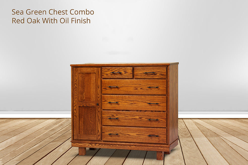 sea green 6 drawer chest combo