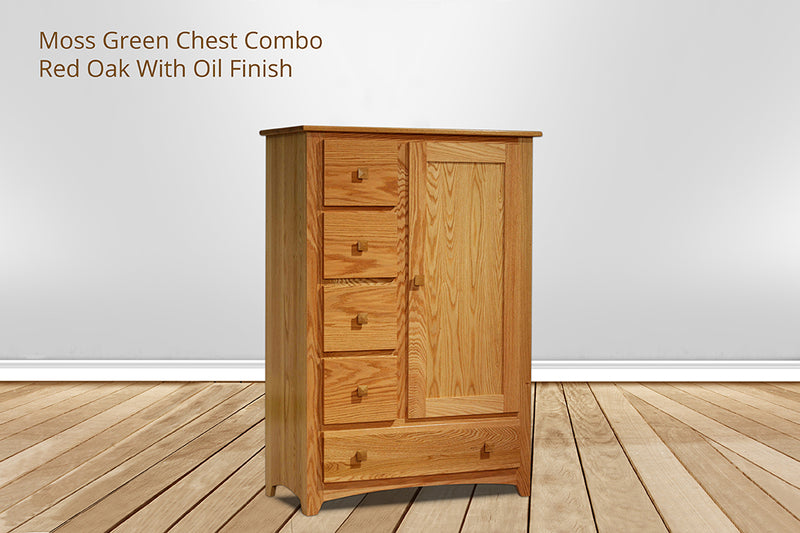 moss green 5 drawer chest combo