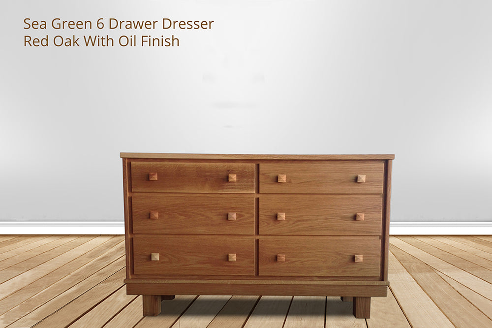 sea green 6 drawer dresser