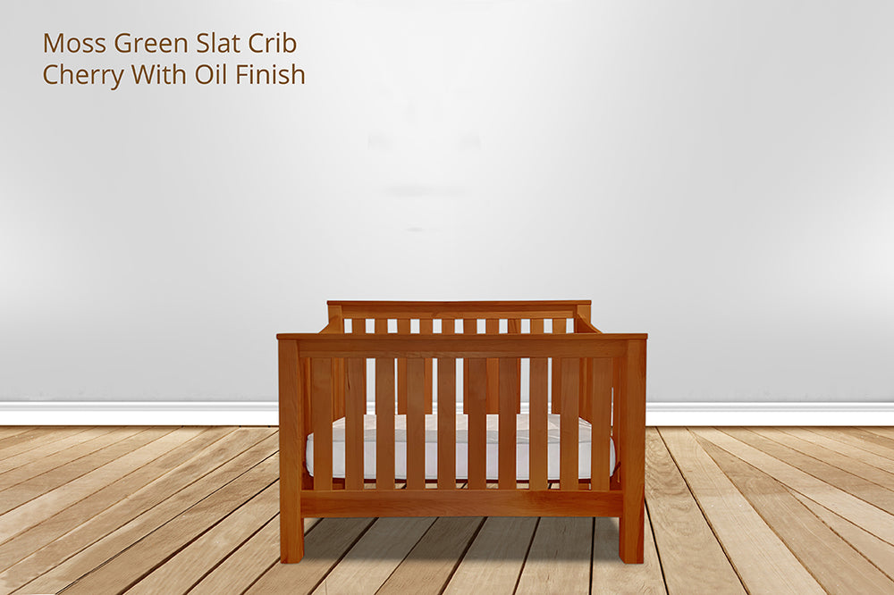 moss green slat crib