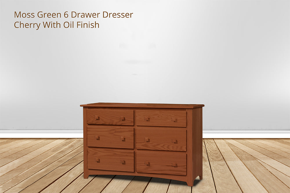 moss green 6 drawer dresser