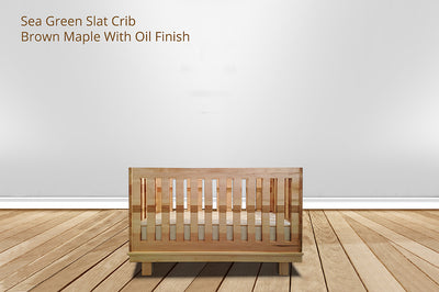 sea green slat crib