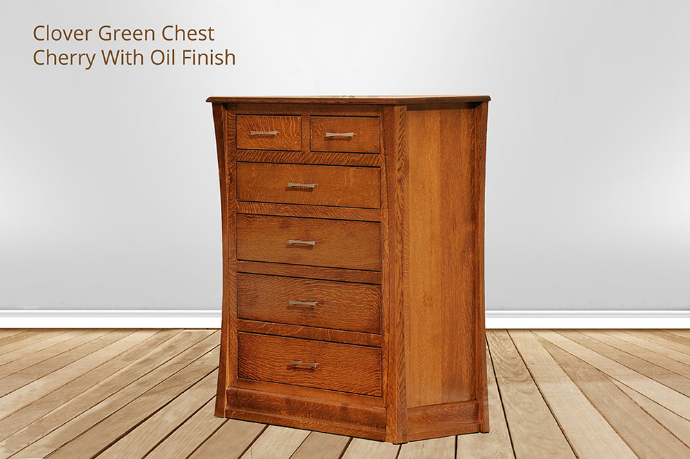 clover green 6 drawer chest