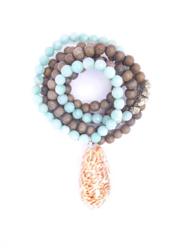 ☽ AMAZONITE + RAW PYRITE MALA ☾