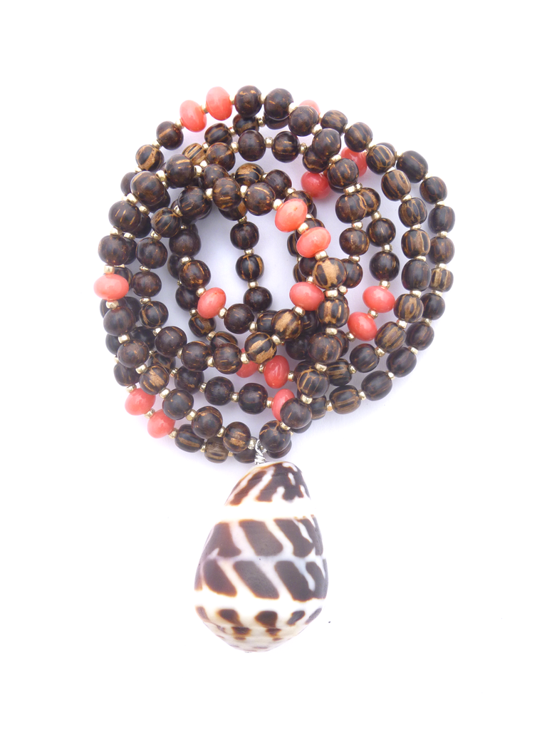 ☽ TIGERWOOD + PINK CORAL MALA ☾
