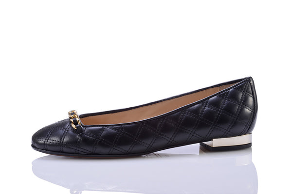 Sanida Carroll Giara Black Napa Quilt Comfortable Flats (left)