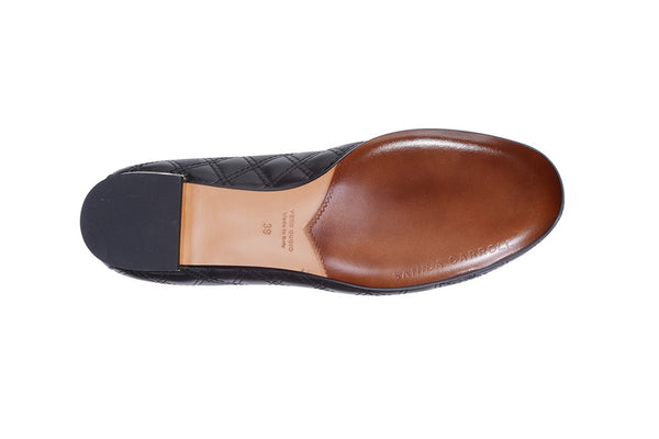 Sanida Carroll Giara Black Napa Quilt Comfortable Flats (sole)
