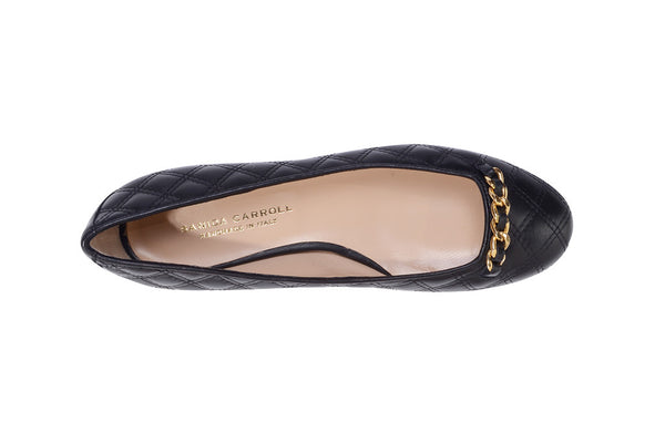 Sanida Carroll Giara Black Napa Quilt Comfortable Flats (top)
