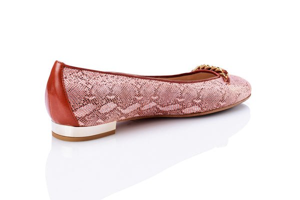 Sanida Carroll Giara Snake Embossed Comfortable Flats (back)