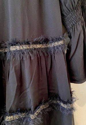 Metallic Feather Trim Dress