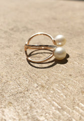 Pearl And Diamond Bypass Ring
