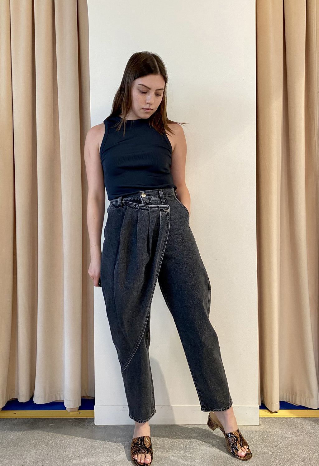 The Pleat Wrap Jean in Maxwell
