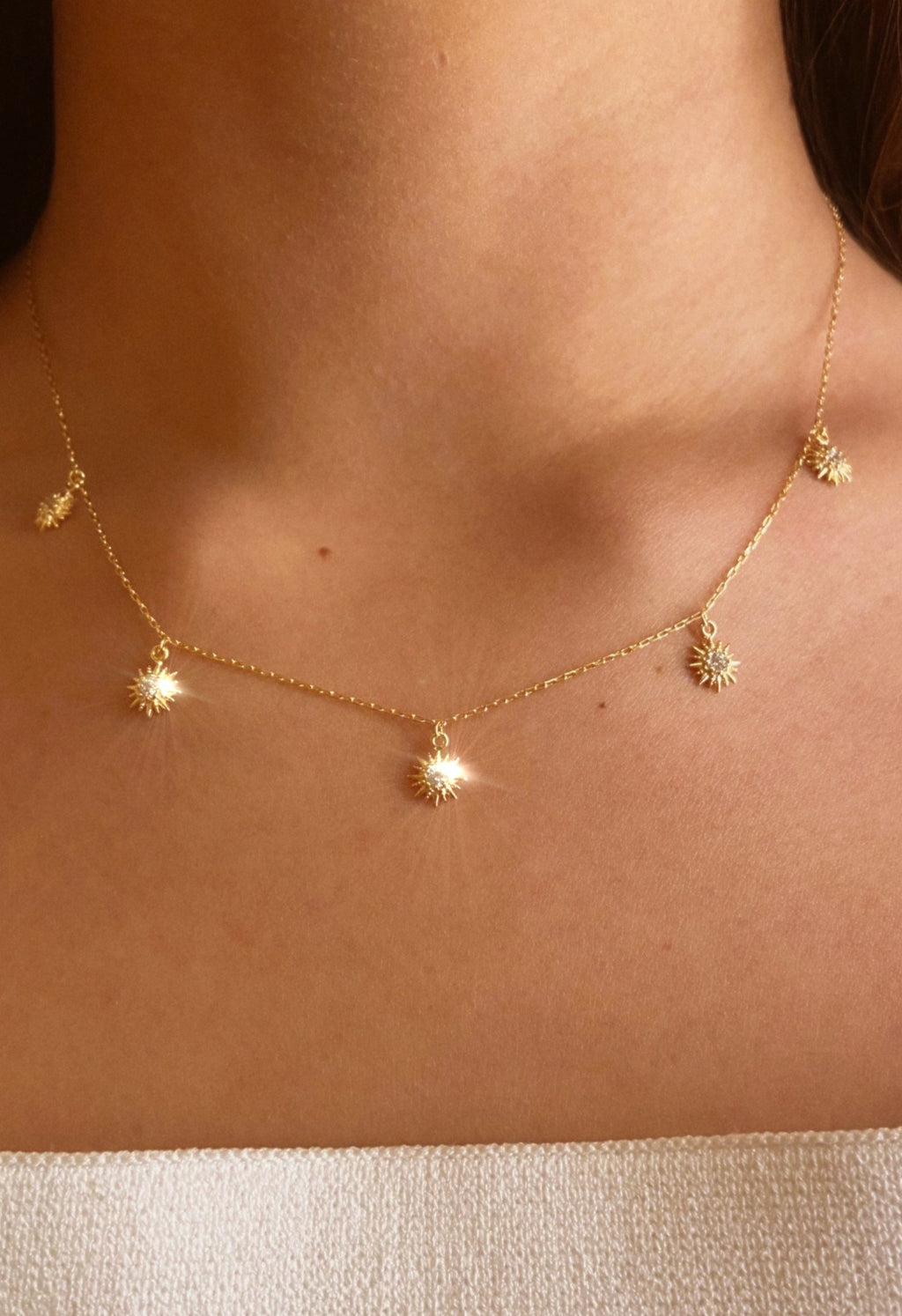 14K Gold Vermeil Starburst Charm Necklace
