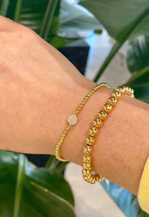 Beaded Gold Bracelet with Crystal Pavé