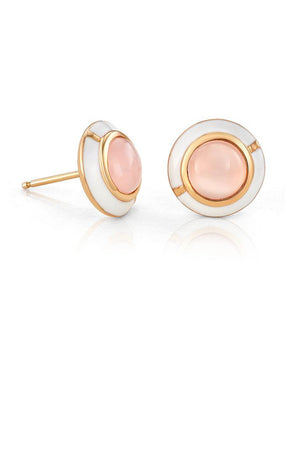 Mini Geo Pink Chalcedony Earrings