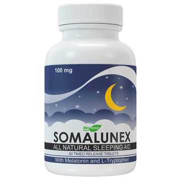 1 bottle of SomaLunex 100mg: Extra Strength Sleeping Pills Timed Release Tablets