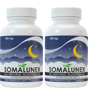 2 bottles of SomaLunex 100mg: Extra Strength Sleeping Pills Timed Release Tablets