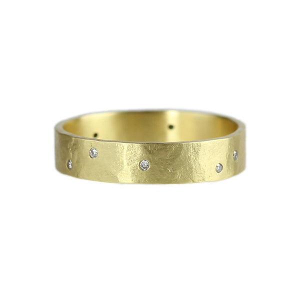 Parchment Scatter Ring with Diamonds in 14K Yellow Gold (4mm)