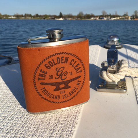 Handmade Leather Flask with The Golden Cleat Logo