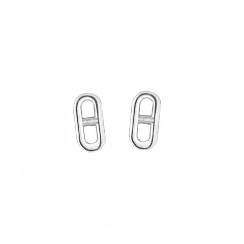 Anchor Chain Stud Earrings in Sterling Silver