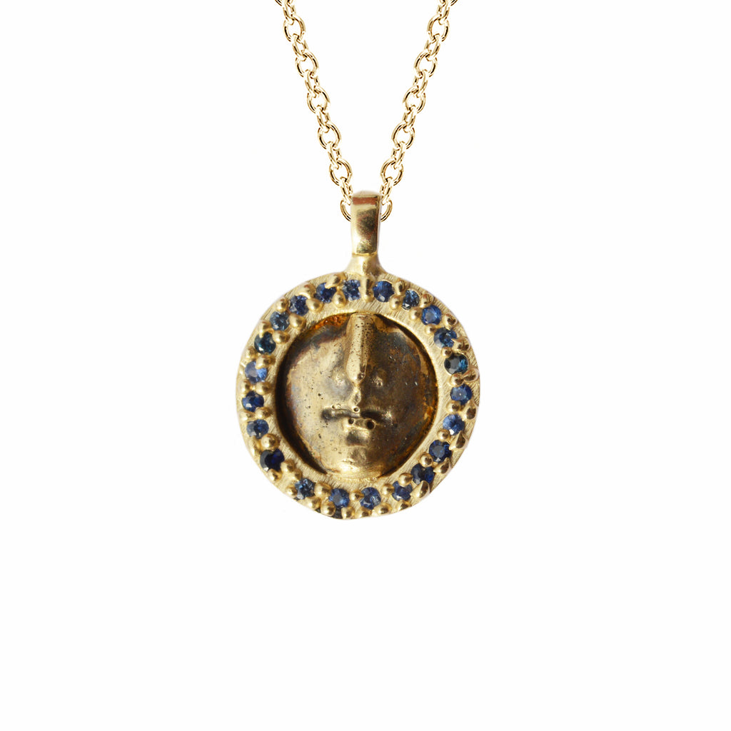 Ara Pacis Necklace with Blue Sapphires in 10K Gold