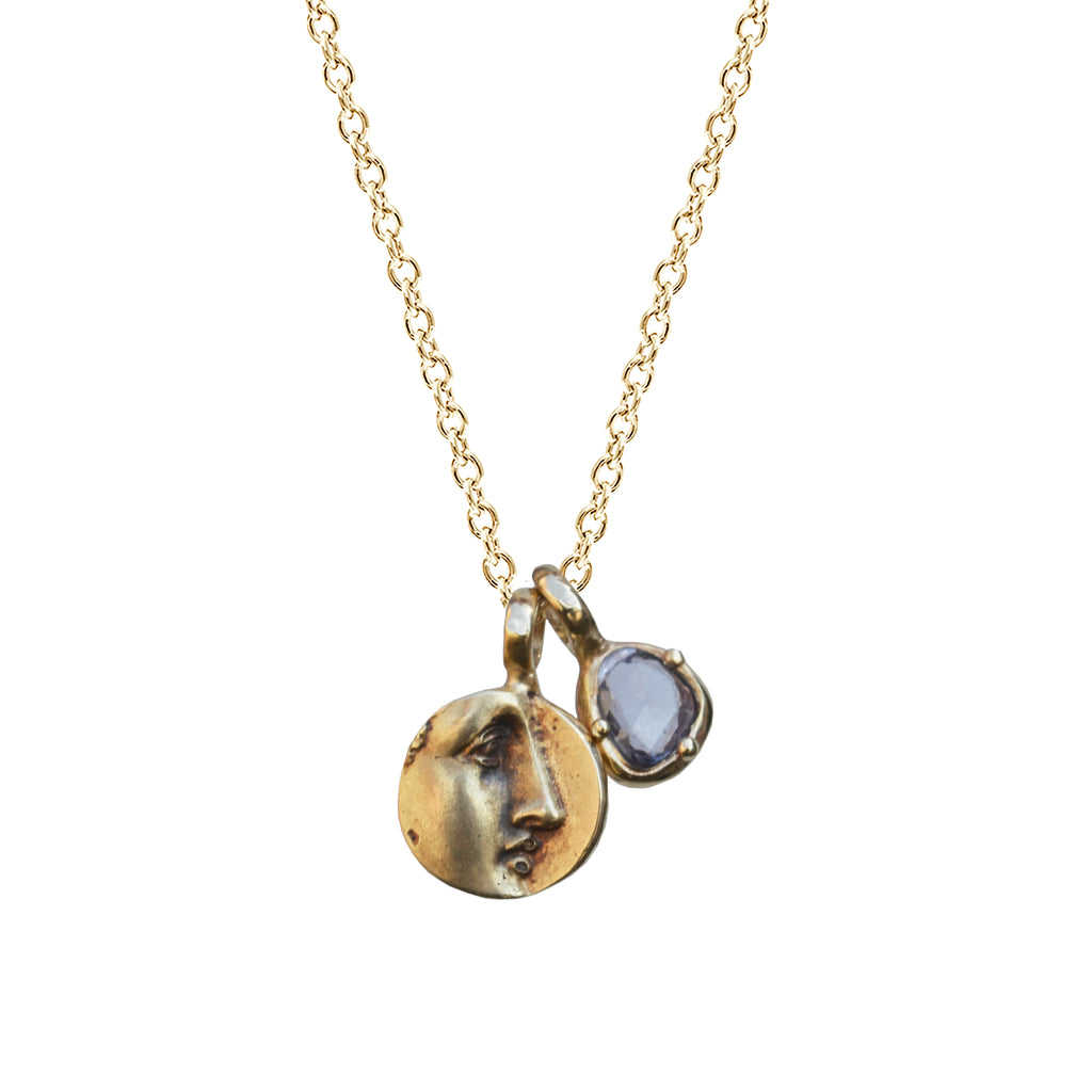 Pollux Necklace with Blue Sapphire in 14K Gold