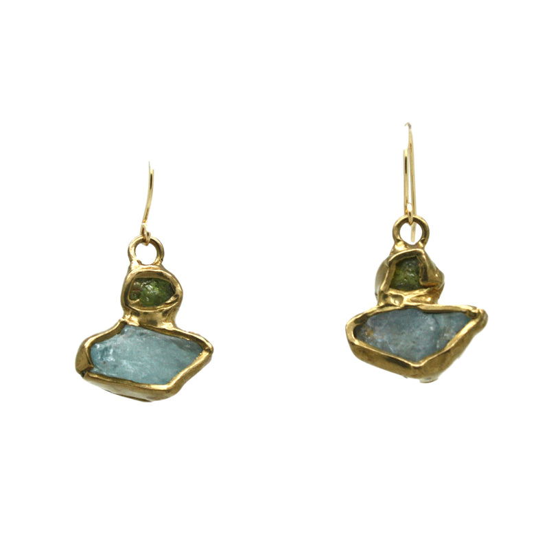 Aurora Earrings (Aquamarine, Green Garnet)