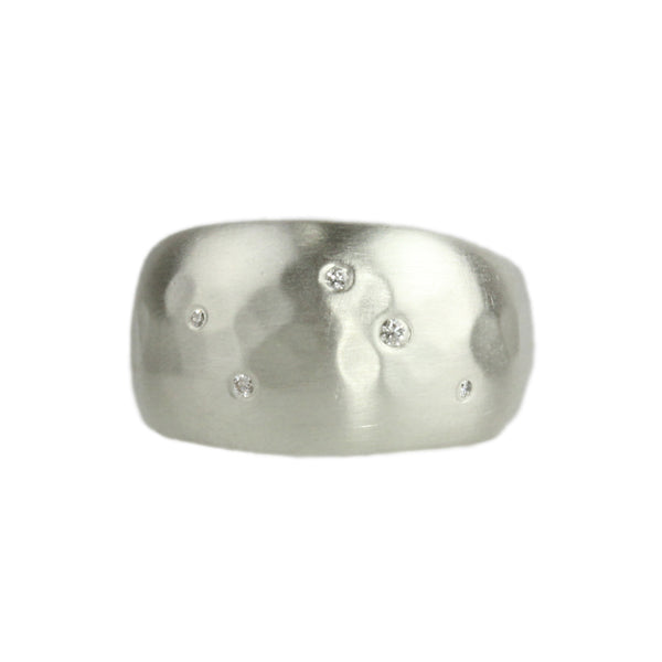 Aurora Half Sleeve Ring with Diamonds in Sterling Silver