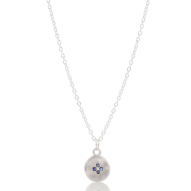 Small Four Star Wave Necklace with Sapphires in Sterling Silver