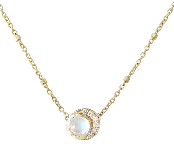 Baby Moon Necklace in 14K Yellow Gold