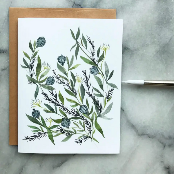Set of Six Greeting Cards (Botanical Watercolors)