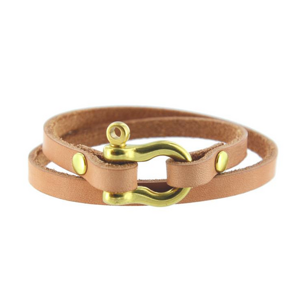 Double Wrap Shackle Bracelet (Brass on Natural Leather)