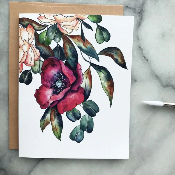 Greeting Card (Burgundy Poppy Watercolor)