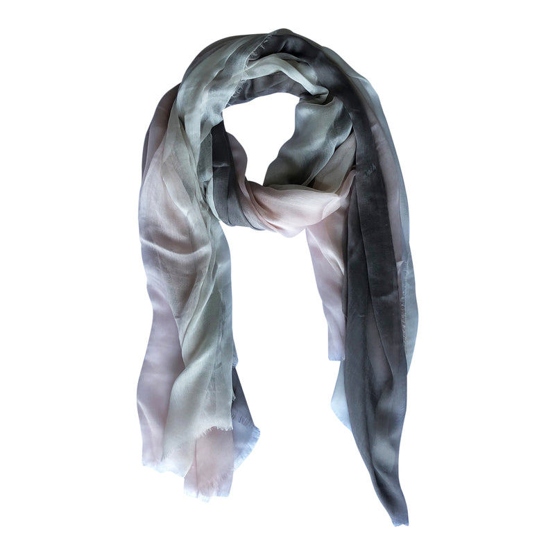 Silk/Cashmere Scarf (Chalk/Cloud)